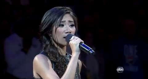 Jessica Sanchez sings national anthem