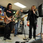 Caleb Johnson plays with the band